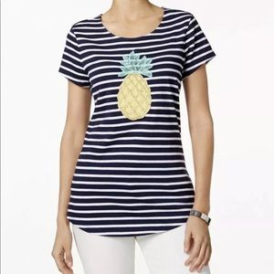 Charter Club Embellished Pineapple T Shirt Sz:PL